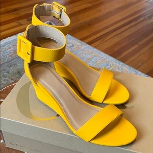 Yellow ankle strap sandal with low heel